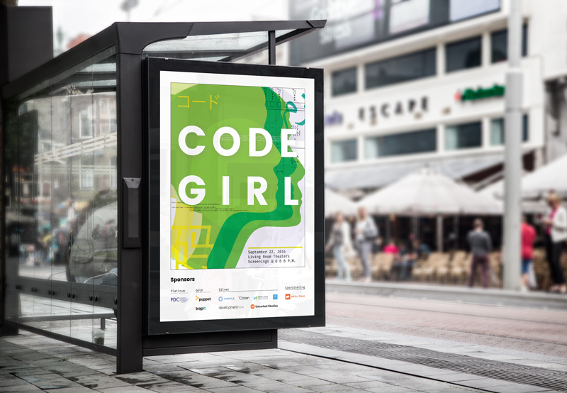 Image of Code Girl poster at bus shelter