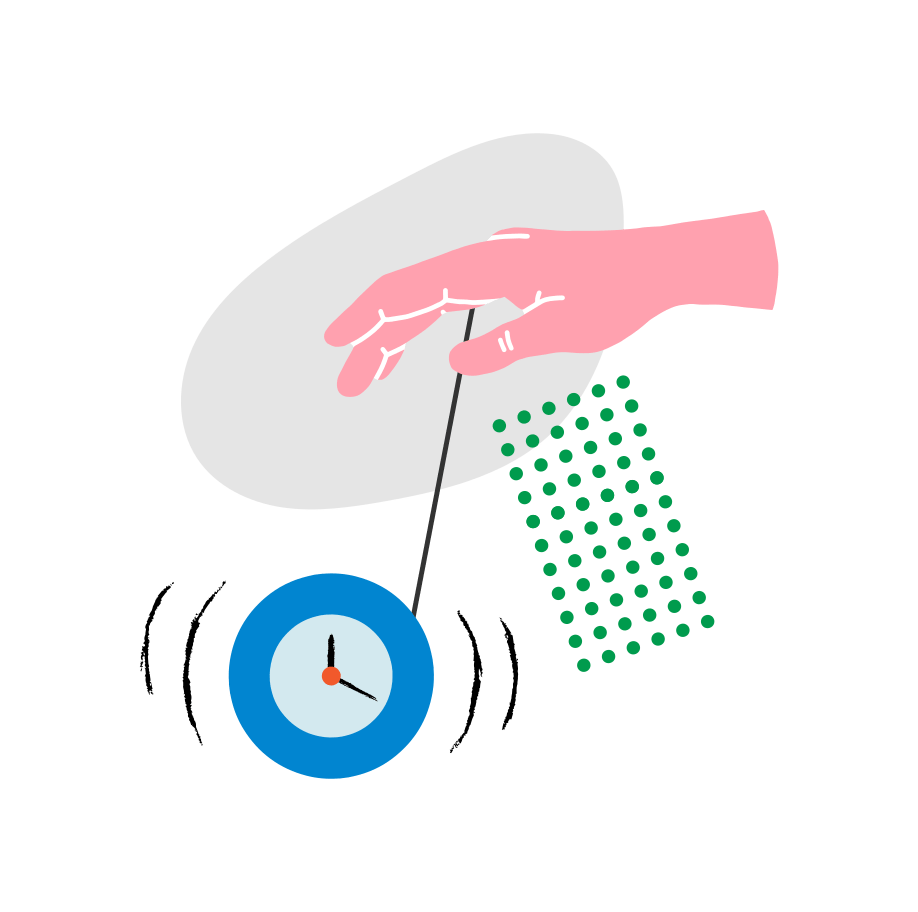 Illustration of a pink hand holding a blue clock as if it's on a yo-yo string. There are gray and green abstract shapes in the background.